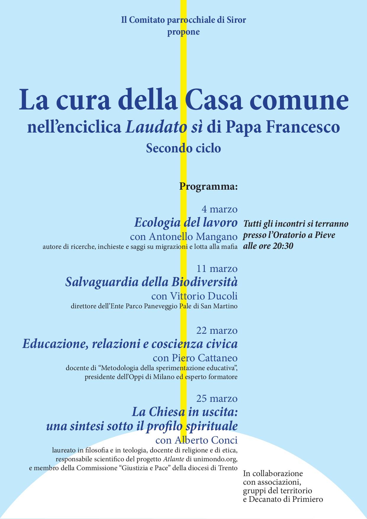 locandina Laudato sì marzo 2019