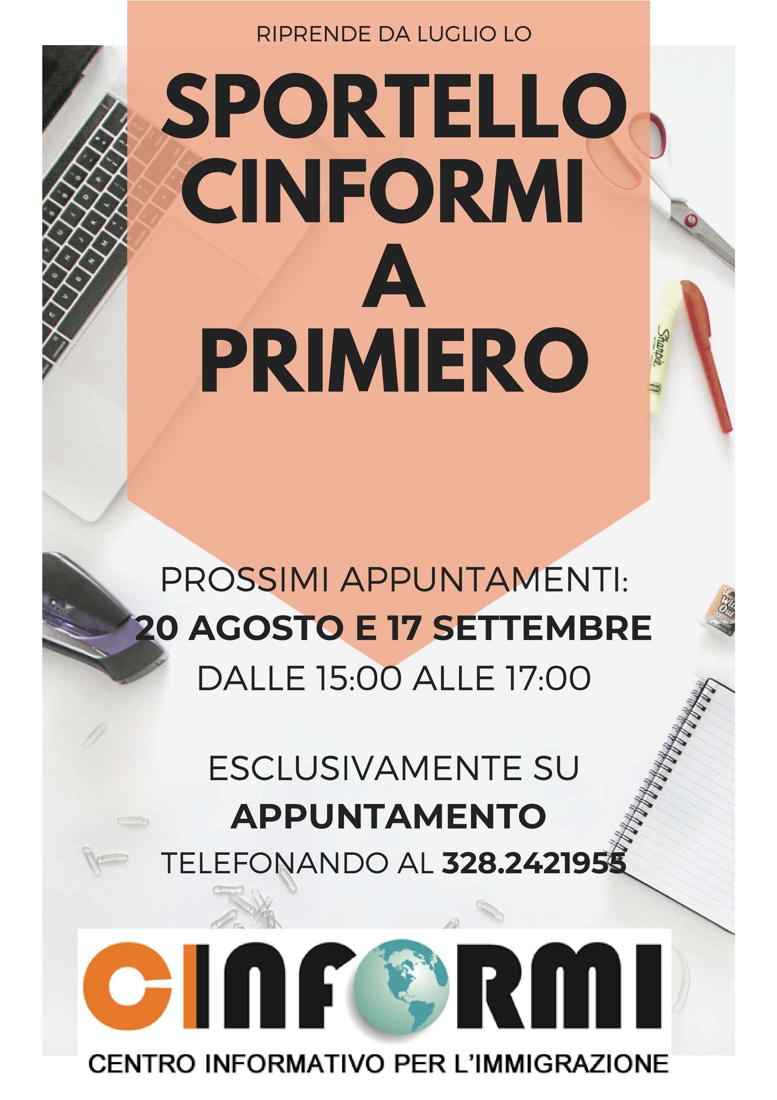 SPORTELLO CINFORMI A PRIMIERO_agosto settembre