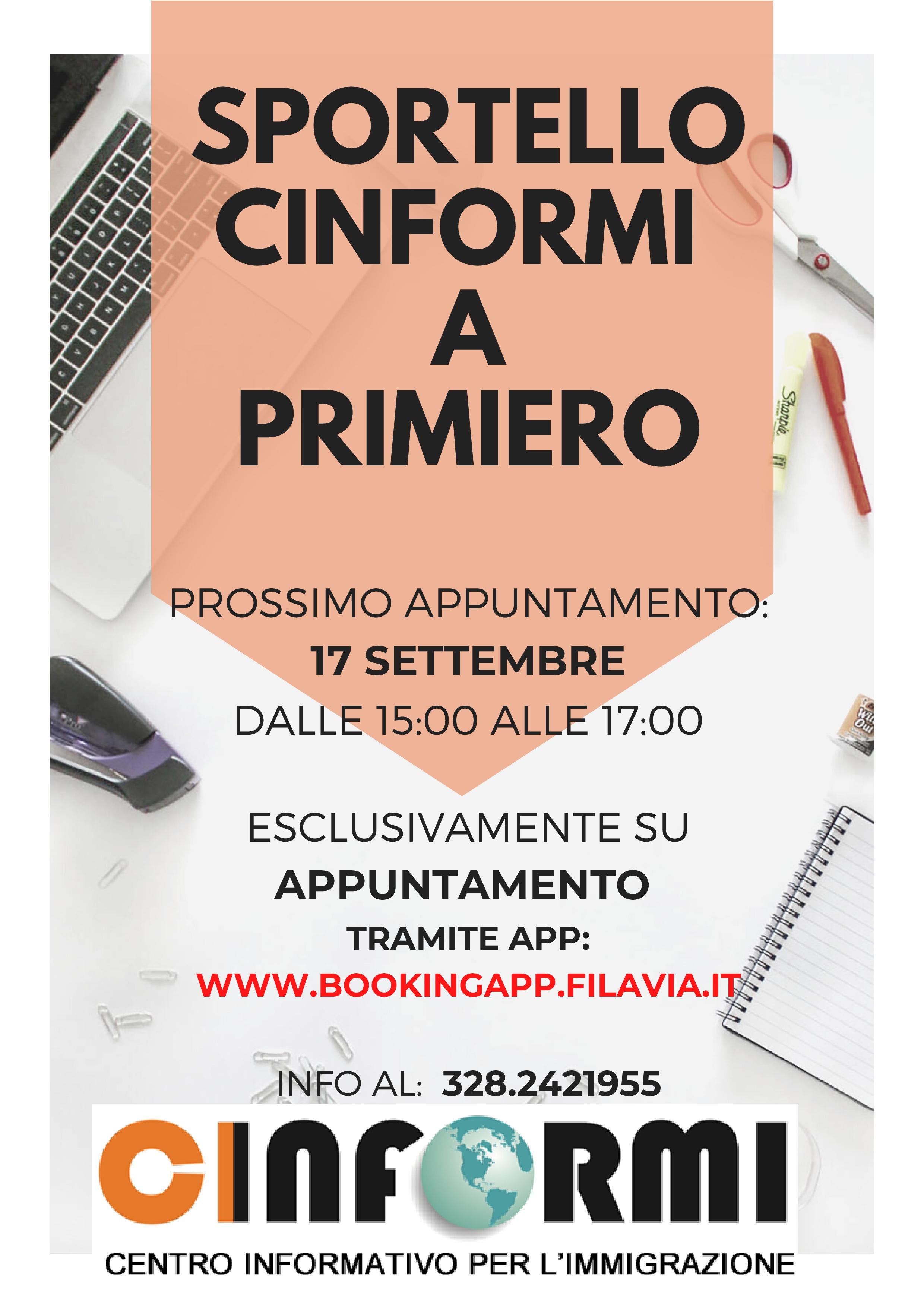 SPORTELLO CINFORMI A PRIMIERO_settembre